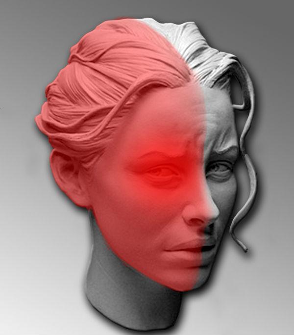 голова девушки на половину красная