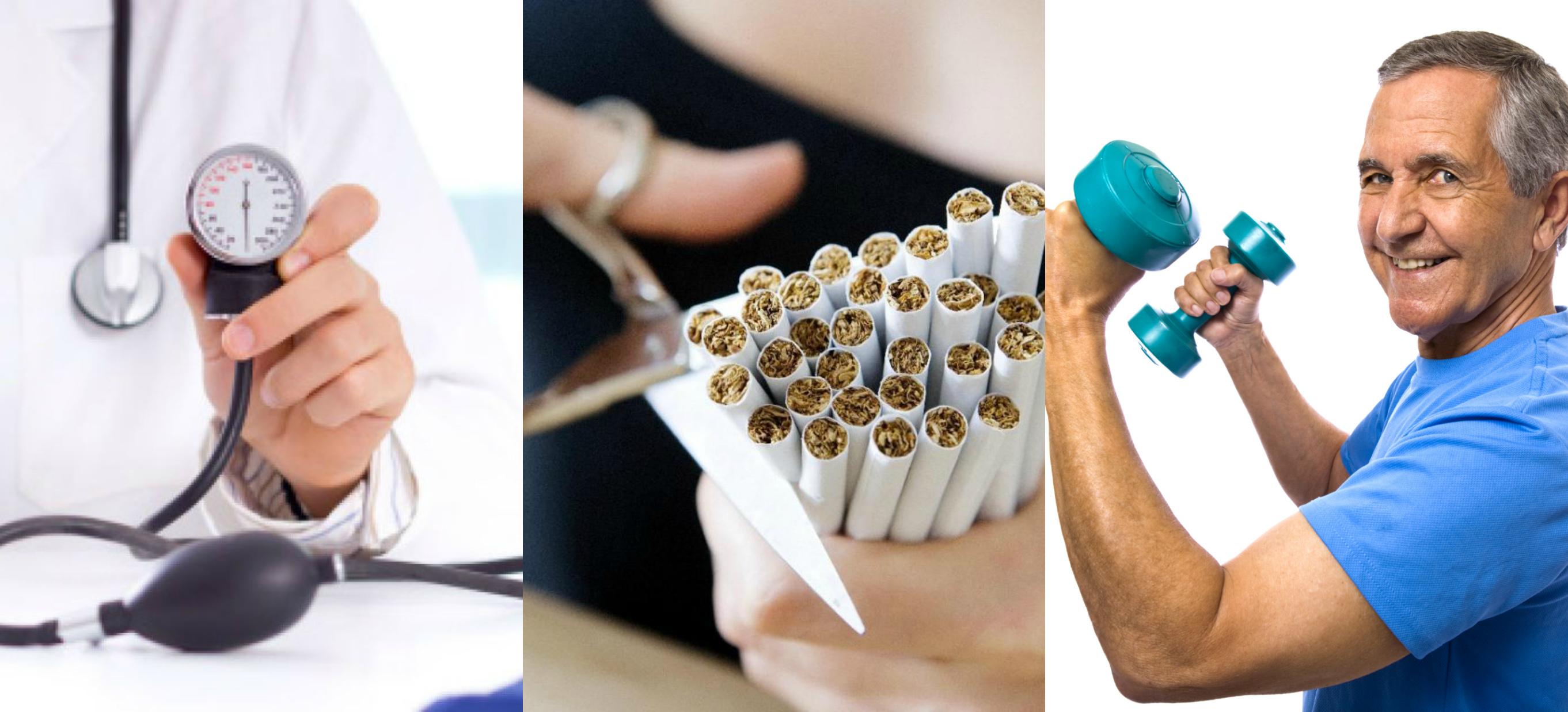 танометр, режут сигареты, пожилой человек с гантелями