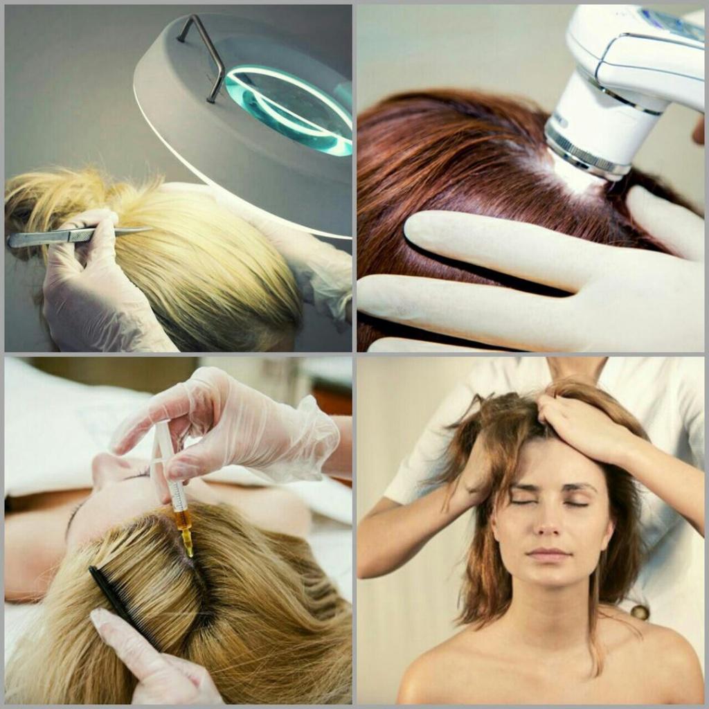 волосы, кожу головы обследуют,массаж головы