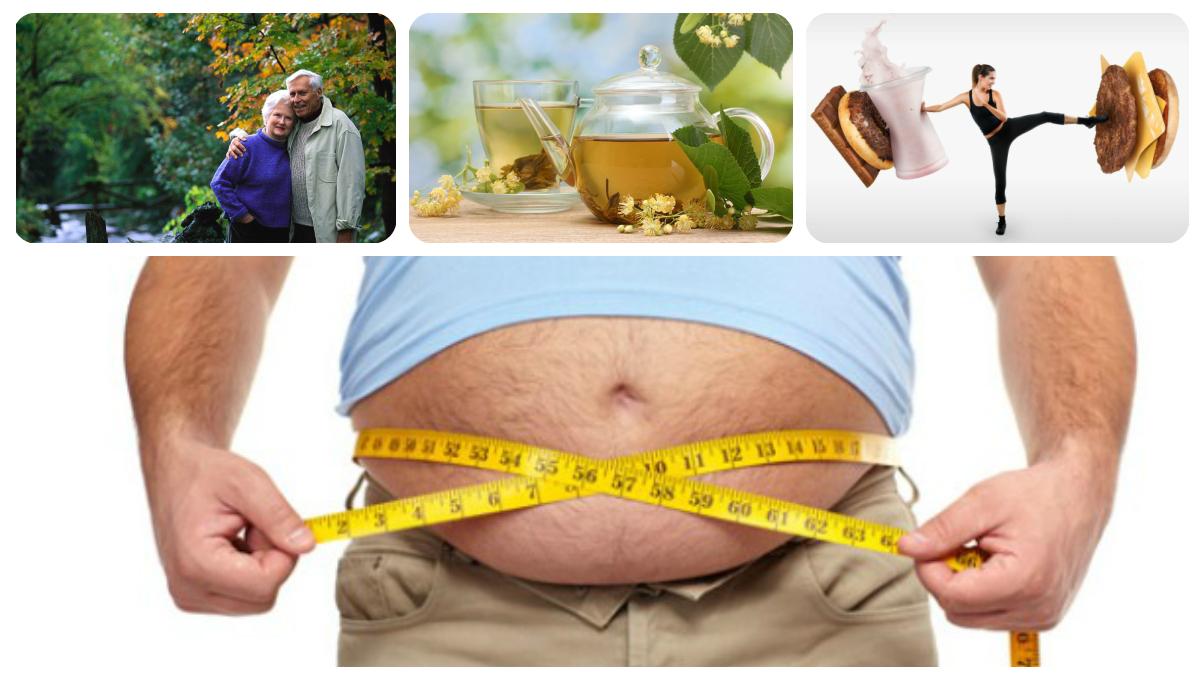 толстяк меряет обхват талии, отказ от вредной еды