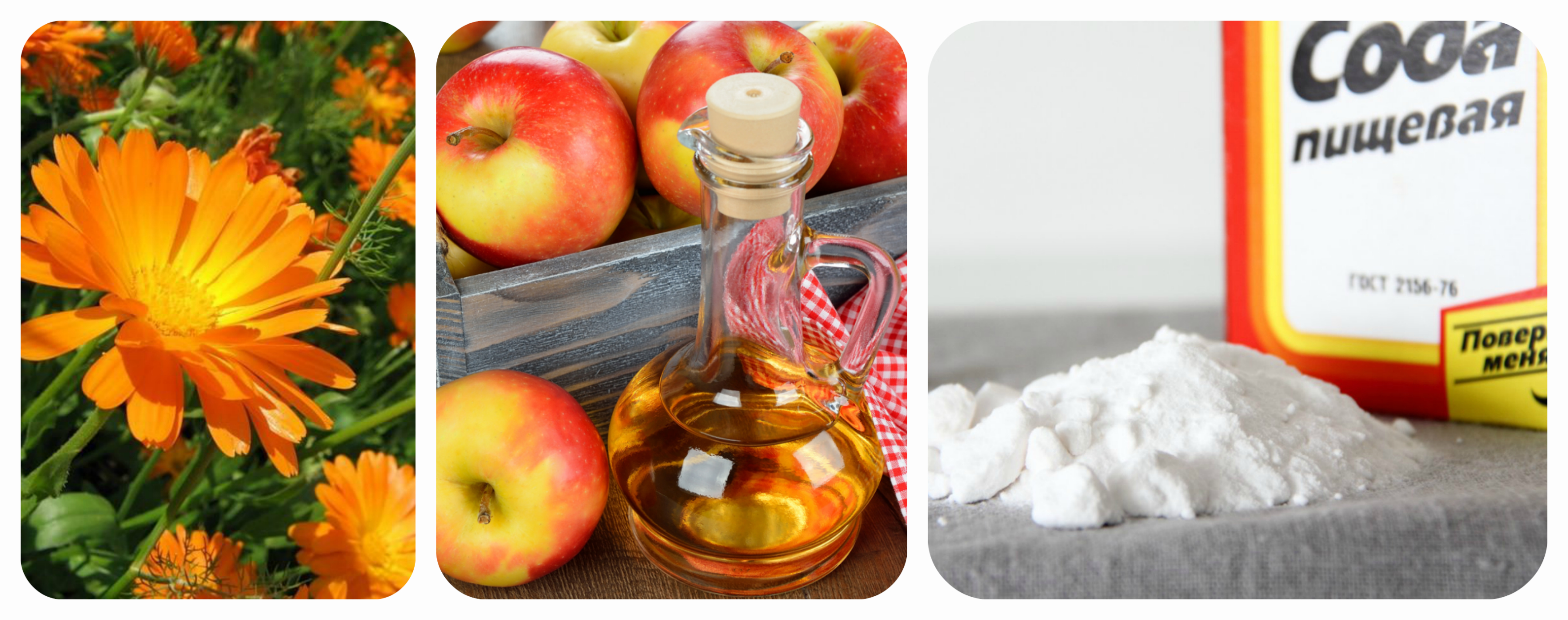яблочный уксус, сода, календула