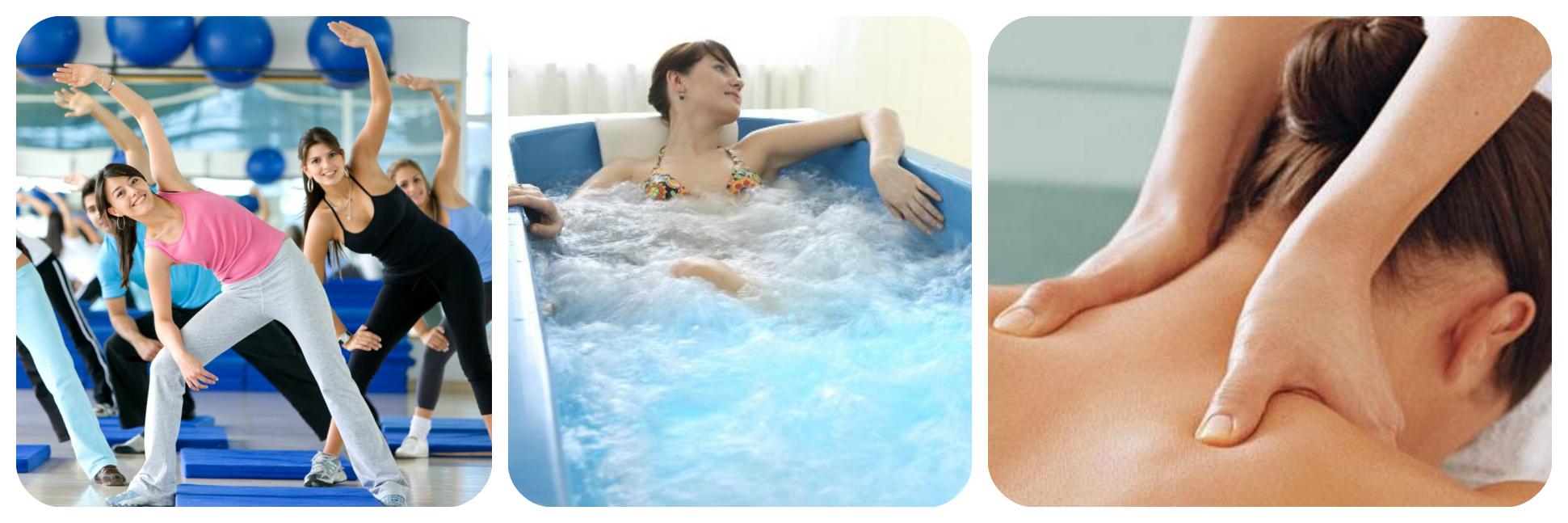 кислородная ванна, ЛФК, массаж