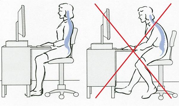 правильная осанка за компьютером
