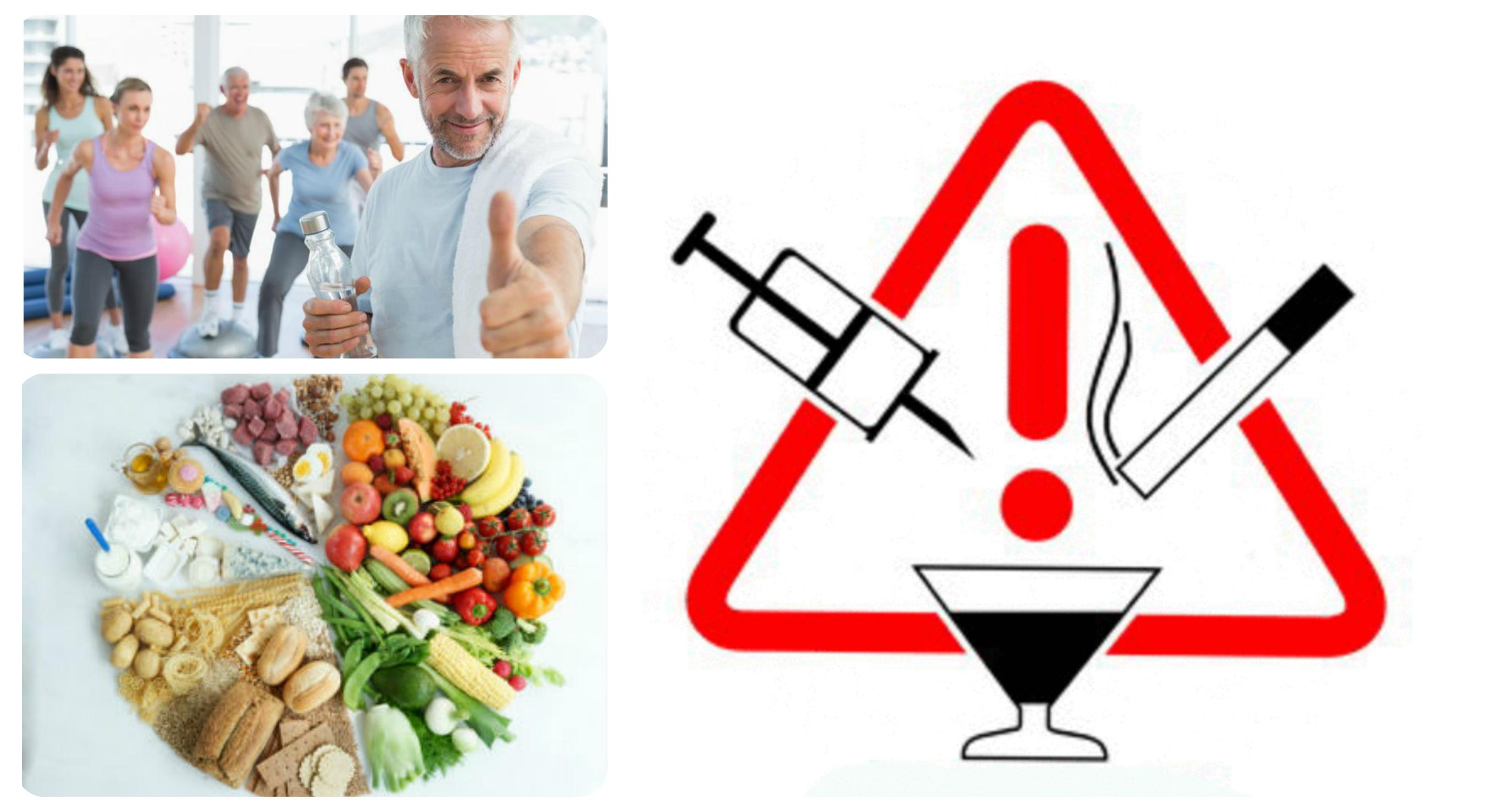 отказ от вредных привычек, физические нагрузки, правильное питание