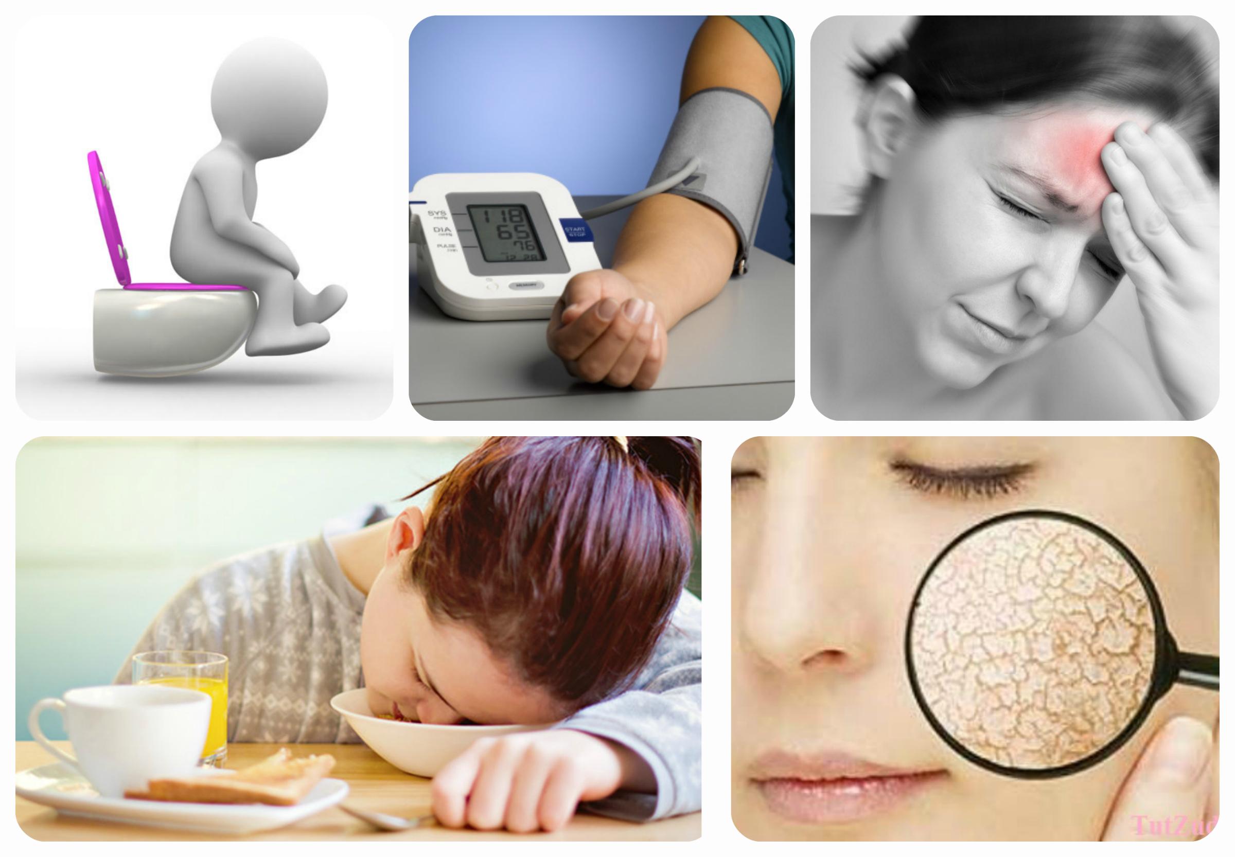 головная боль, нарушение стула, сухость кожи,усталость